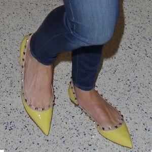 Yellow Valentino Rockstud Flats